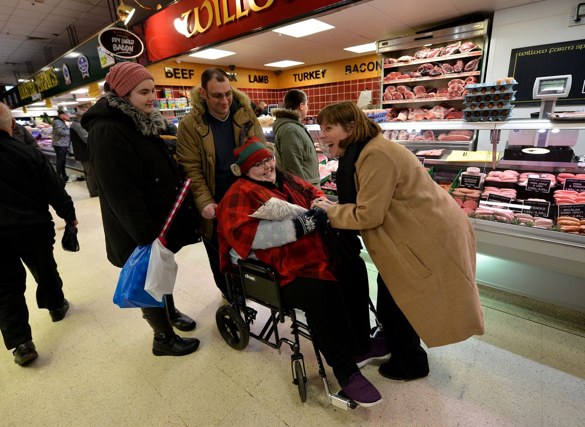 Labour leadership candidate Jess Phillips having a joke with shoppers..