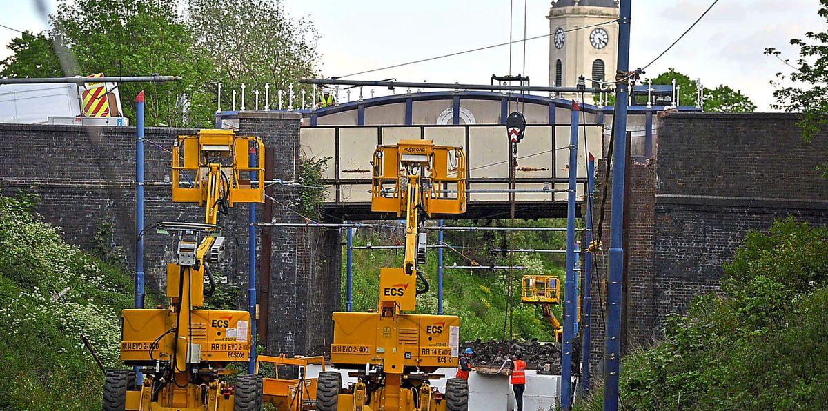 Work starting to demolish the bridge in Arthur Street, in Bilston