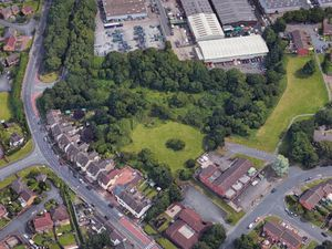 An aerial view showing the land earmarked for a travellers camp off Gorsebrook Road. Photo: Google