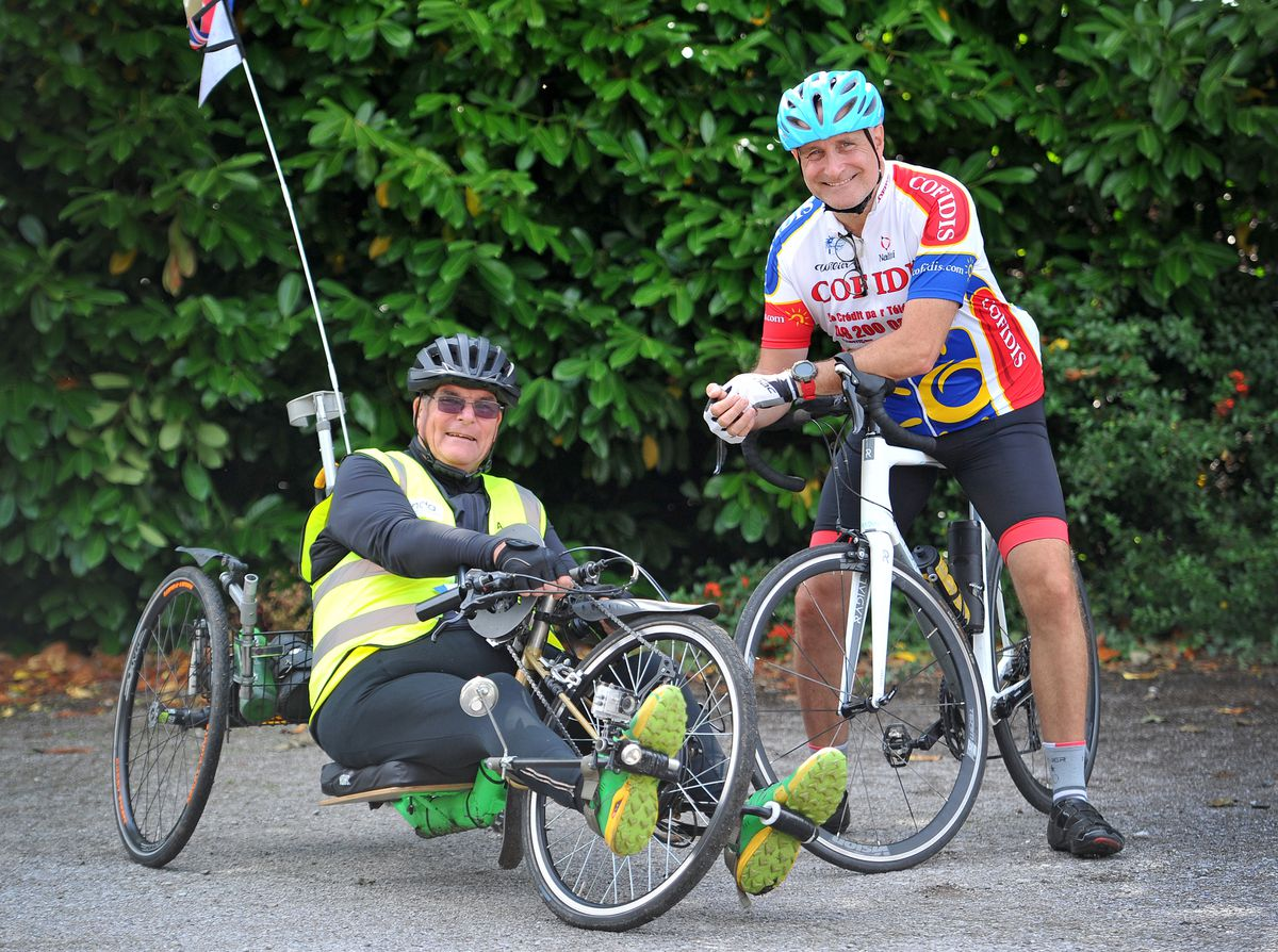 Andrew Moult and Simon Woodward are doing a month 500 cycling challenge to raise funds for Motor Neurone Disease (MND) in memory of Ken Whittingham, who ran the deaf centre in Walsall