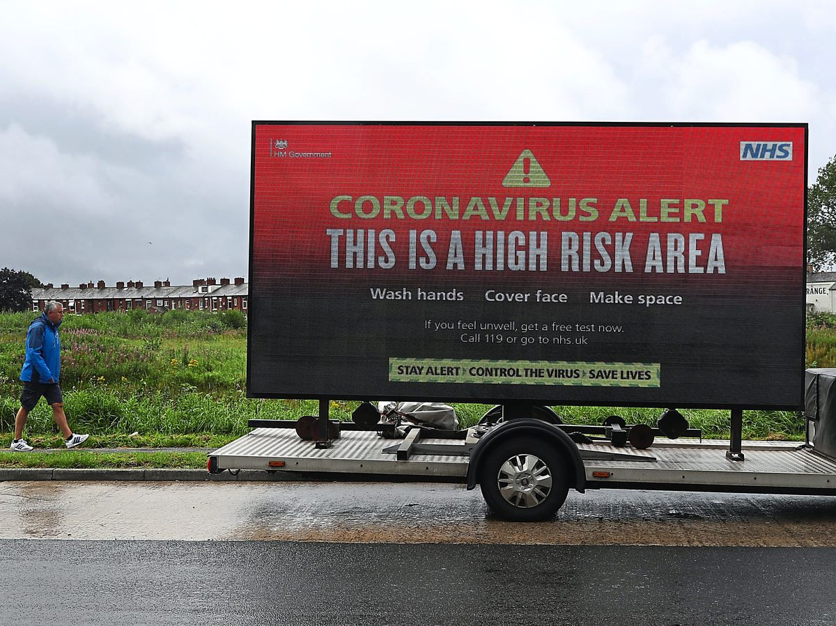 Mobile advertising emphasises the high risk area warning in Oldham
