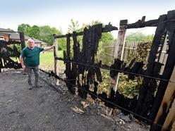 Couple's terror after garden wrecked in arson attack