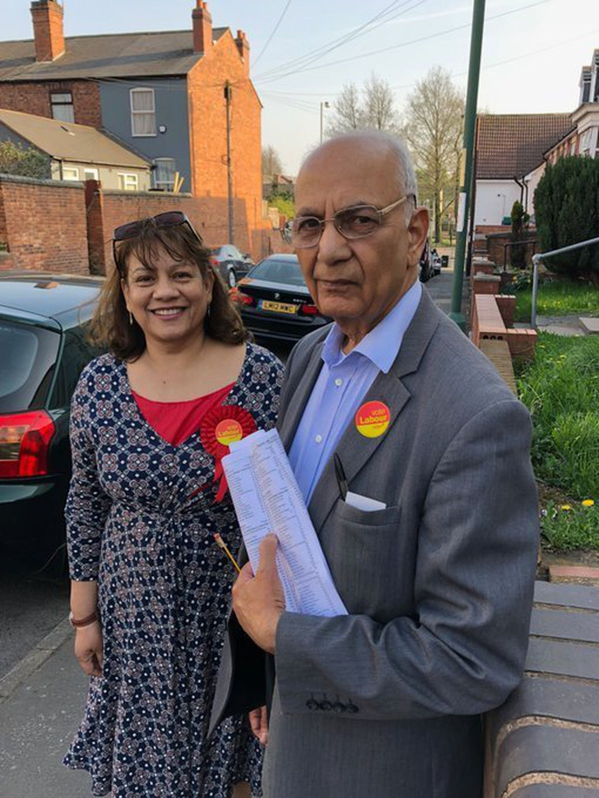 Walsall South MP Valerie Vaz out campaigning with Pleck councillor Harbans Sarohi in 2018. Photo: Valerie Vaz.