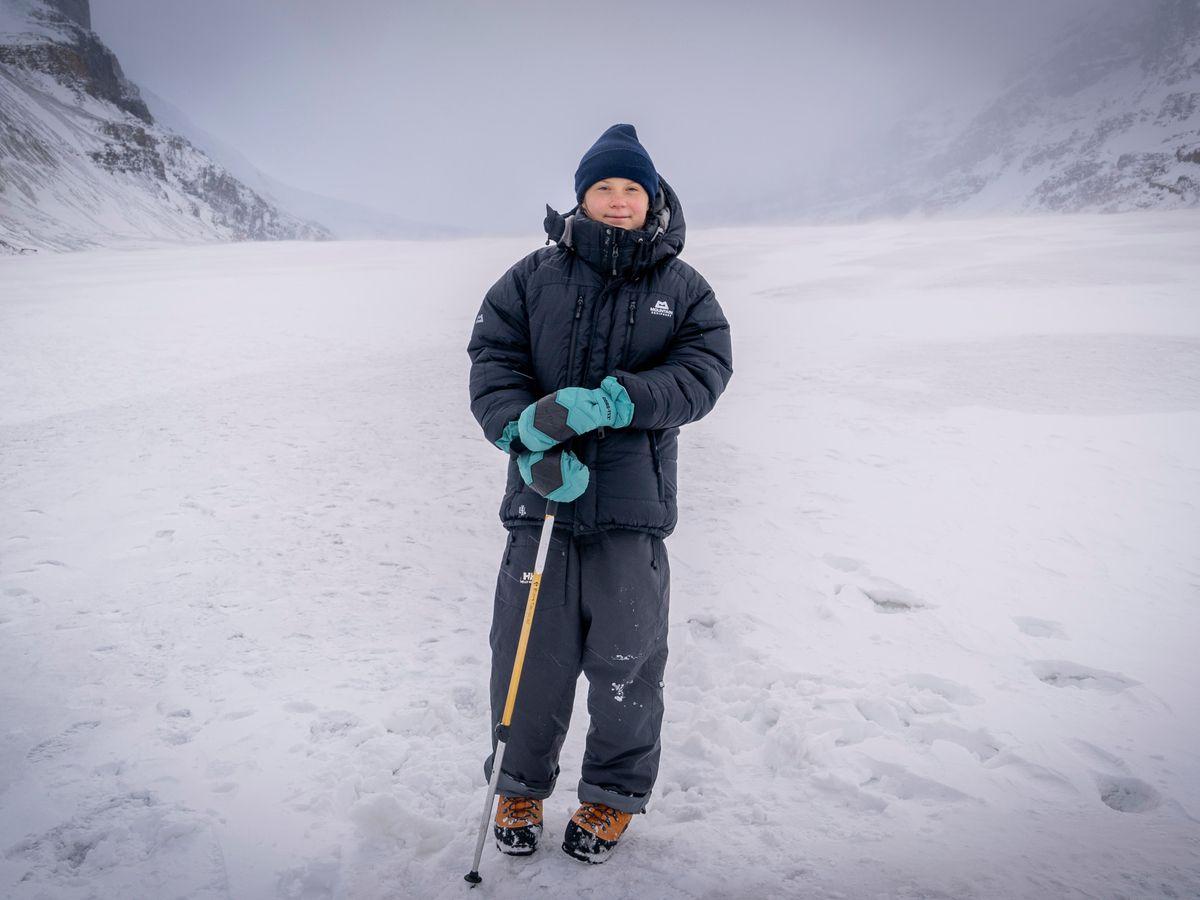 Greta Thunberg on the Athabasca Glacier in Canada