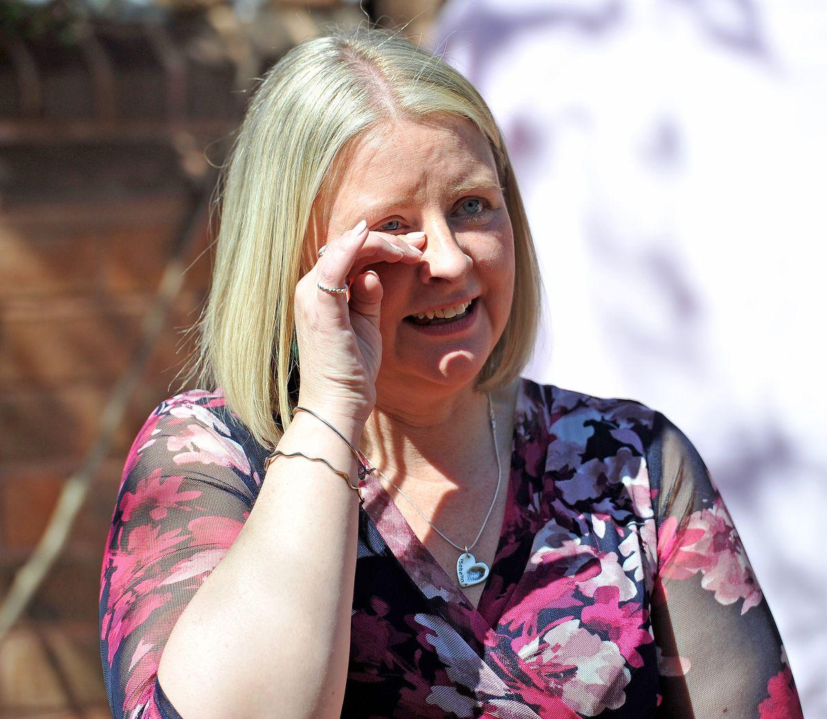 An emotional Jen Dalton at the event..