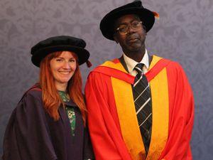 Professor Laura Caulfield congratulates Patrick Vernon on becoming an honorary professor of Wolverhampton University