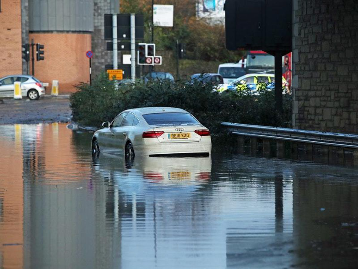 A car stranded in floodwater near Sheffield's Meadowhall shopping centre