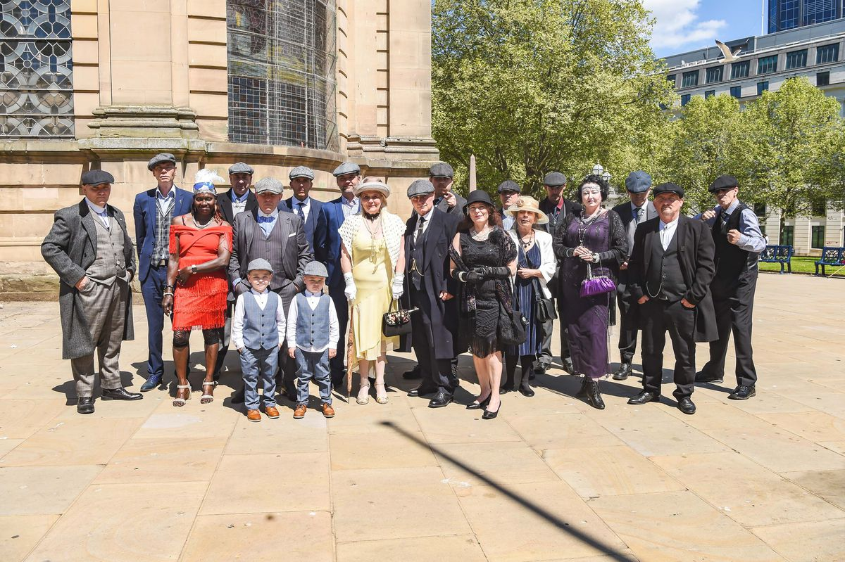 Fans of Peaky Blinders gathered in Birmingham for a charity walk and small service in memory of Aunt Polly actor Helen McCrory OBE. Photo: SnapperSK