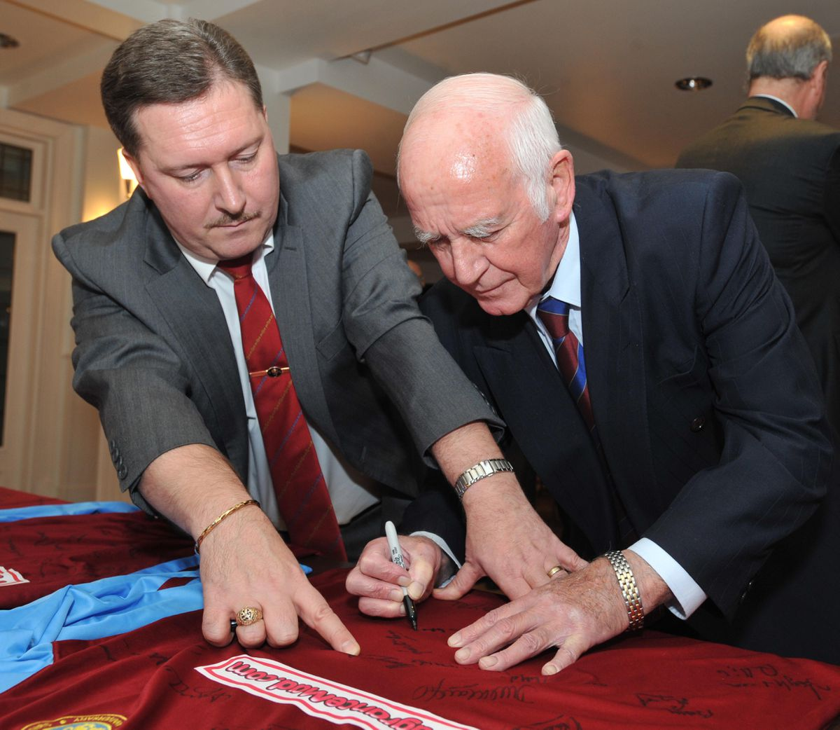 Karl Court ex-general secretary of the Former Villa Players Association with Ron Wylie
