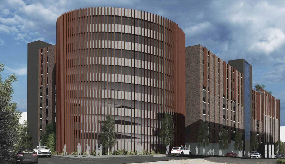 Artist impression of a huge multi-storey car park and residential and commercial development in London Street, Smethwick. Photo: Four Architects