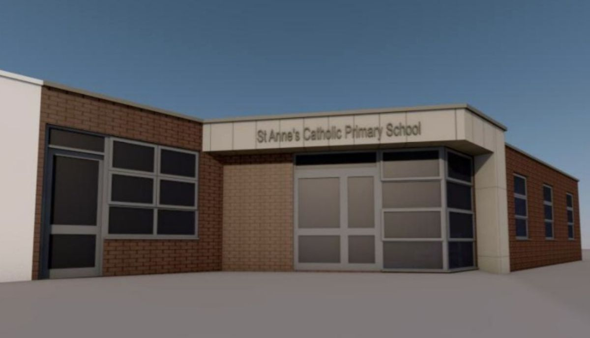 An artist's impression of how the new front entrance at St Anne's Catholic Primary School in Streetly will look. Picture: Wood Goldstraw Yorath