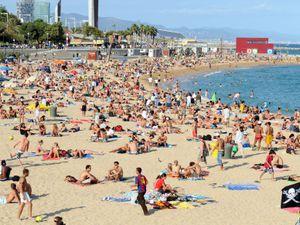 Platja Nova Icarie beach in Barcelona.