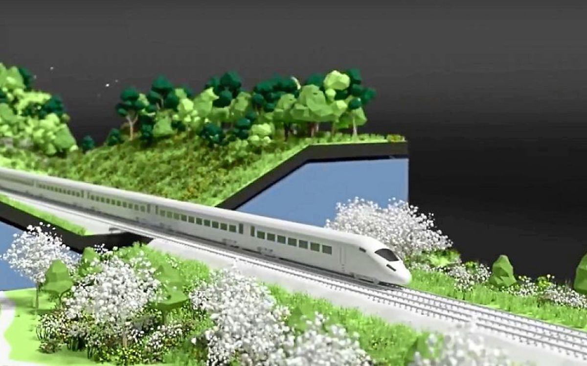 HS2 image of its proposed 'green corridor' along the phase 2 route through Staffordshire