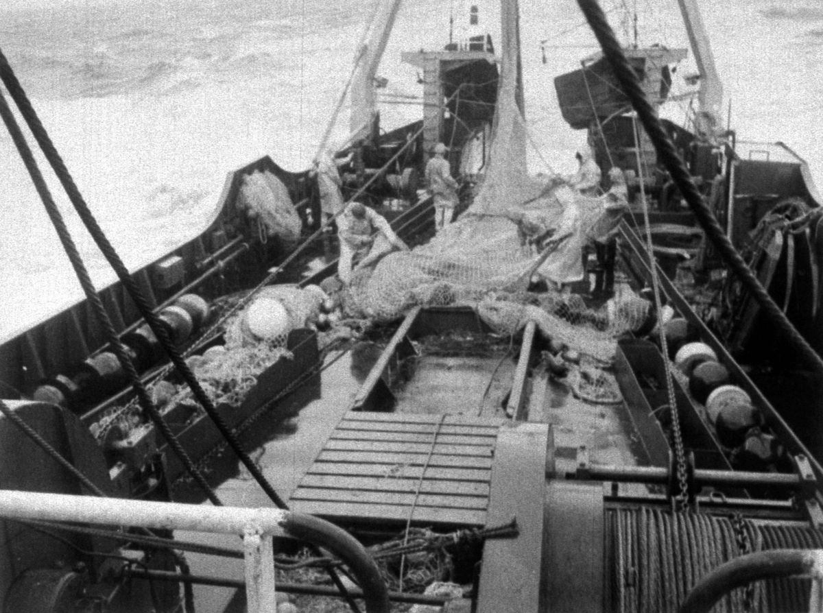 A scene aboard the deckhands on the Flydea trawler in December 1975