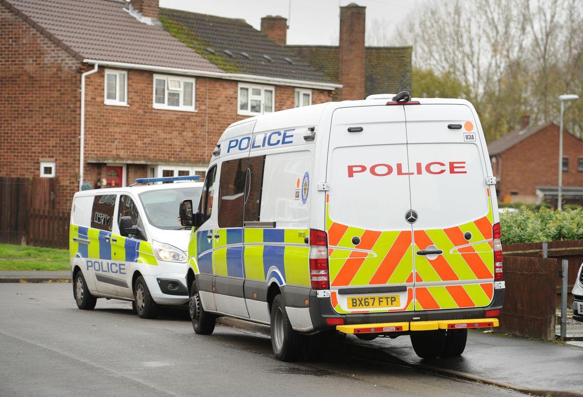 Police at Arlidge Close, Bilston, on Tuesday