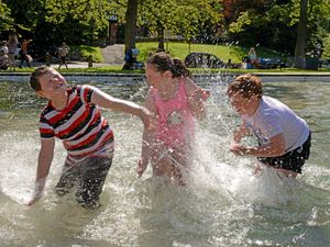 Youngsters John Wigley, Ellie Wigley and Thomas Burrow enjoy Tettenhall Pool in summer 2019