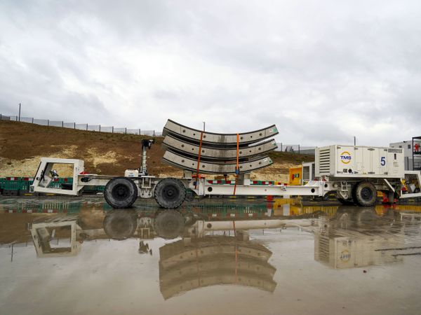 Tunnel segments wait to be loaded onto Florence – the largest ever tunnel boring machine used on a UK rail project – which is unveiled at the HS2 site in West Hyde near Rickmansworth in Hertfordshire (Steve Parsons/PA)