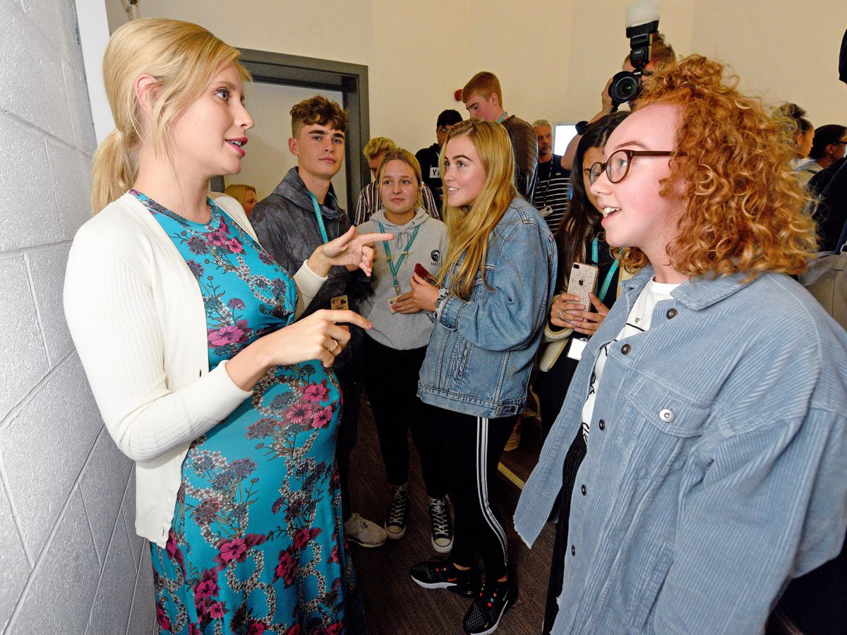 The TV star chatted with students during her visit to Dudley College
