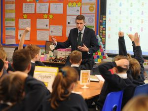 Gavin Williamson takes questions from the St. Bernadette's pupils
