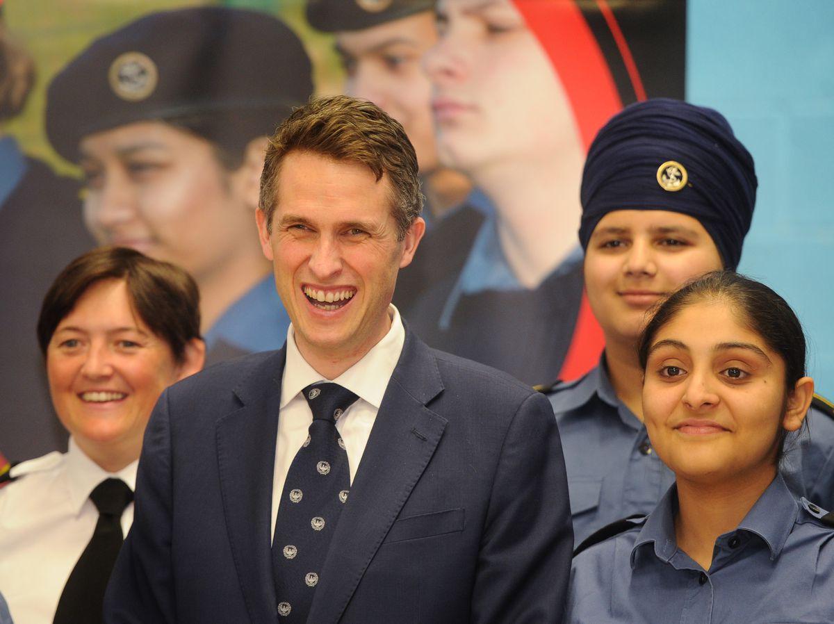 Defence Secretary Gavin Williamson visited the cadet unit at the Phoenix Collegiate School in West Bromwich