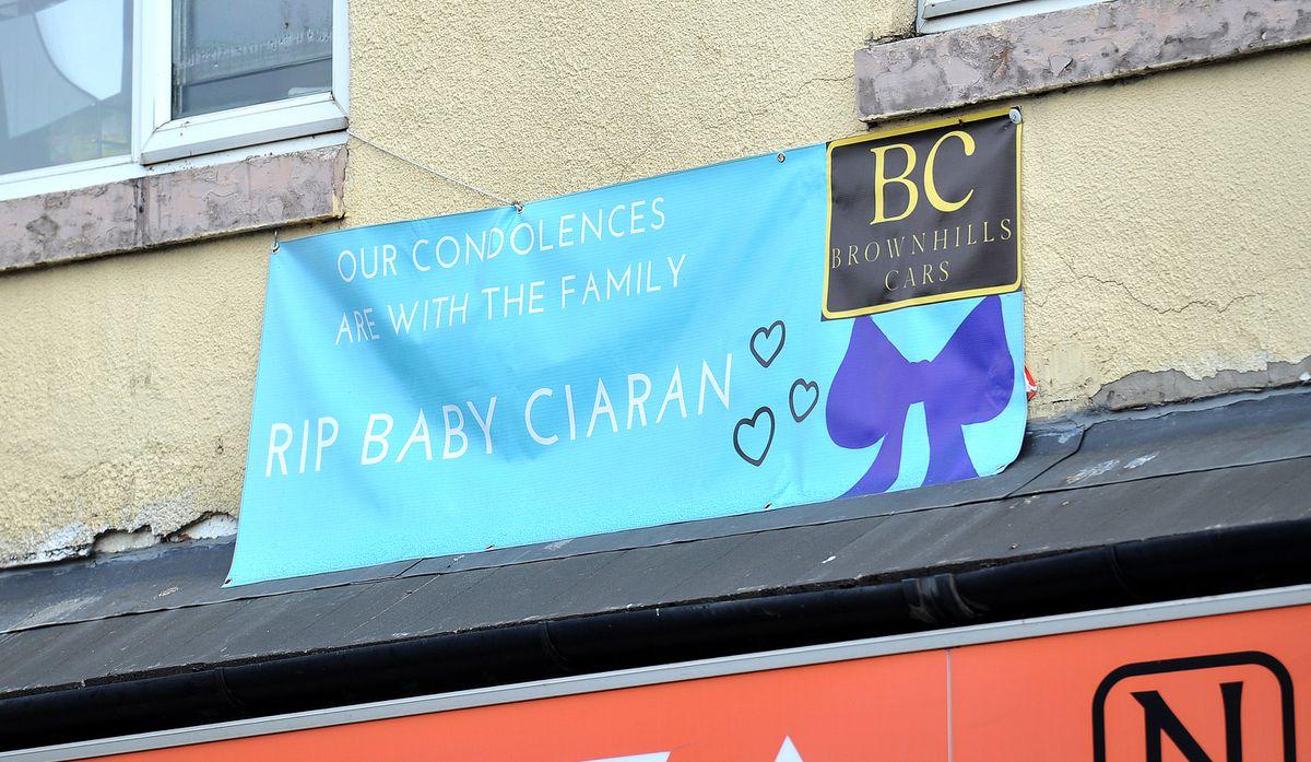 A banner on Brownhills High Street