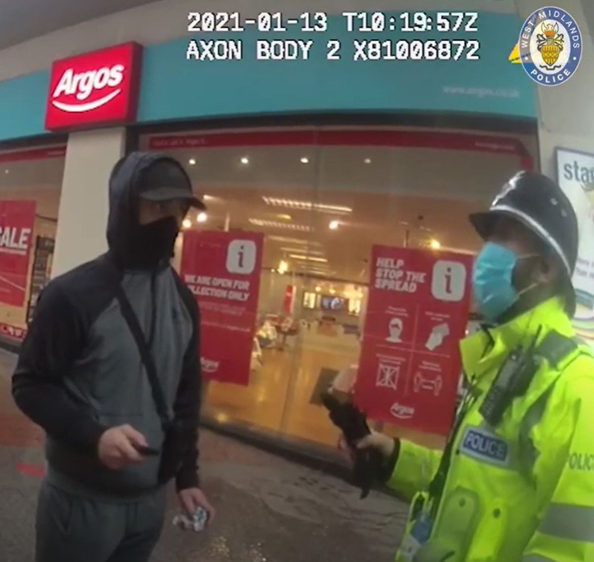 The officer asks Butler why he is in Birmingham
