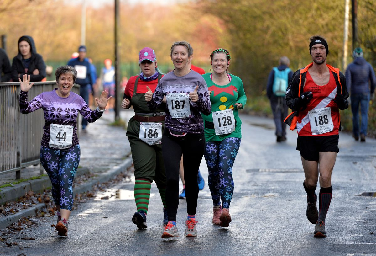 Some runners did a five-mile route and others completed 10 miles