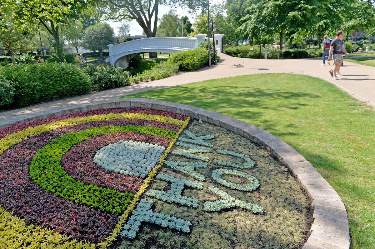 A new carpet bed has been laid in Victoria Park, Stafford, as a tribute to the NHS, key workers and volunteers