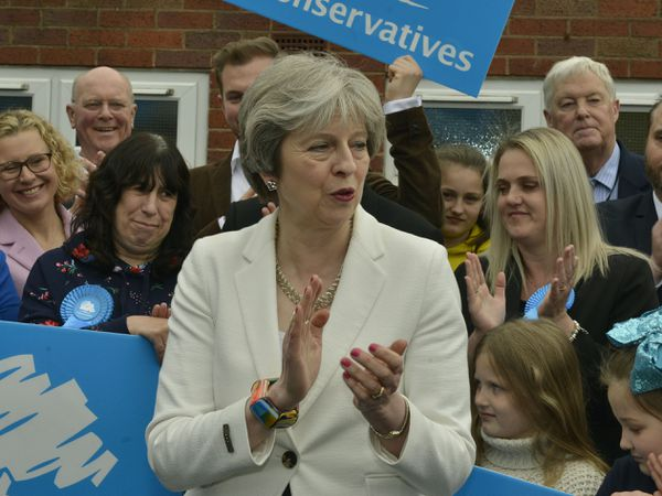 Theresa May speaks outside Sedgley Conservative Club after the election results