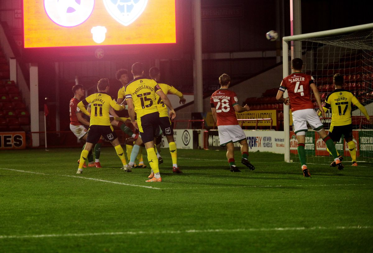 Caolan Lavery's header hits the crossbar (Picture David Linney)