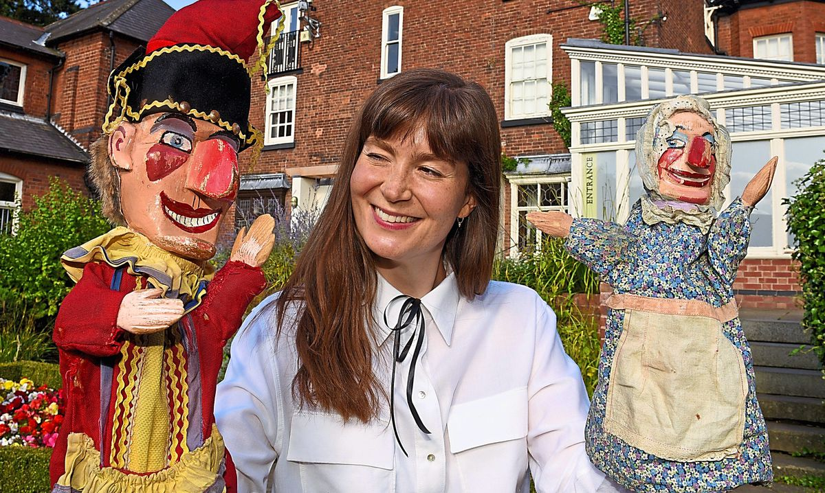 BBC Bargain Hunt presenter Natasha Raskin-Sharp who was filming at Bantock House, Wolverhampton, for a Children In Need special with a puppets theme
