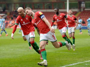 SPORT COPYRIGHT EXPRESS&STAR TIM THURSFIELD 10/04/21.WALSALL V FOREST GREEN ROVERS.James Clarke scores and celebrates..