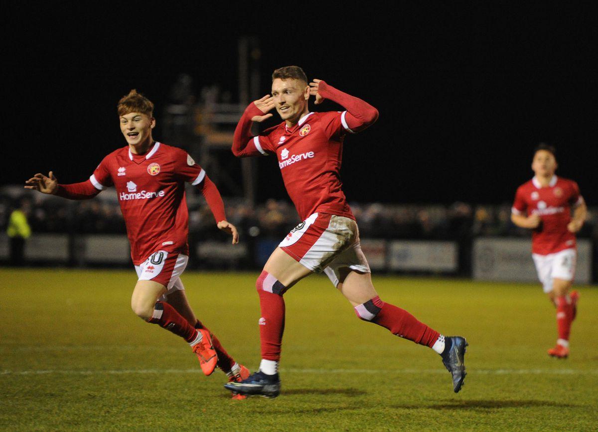 Caolan Lavery celebrates his goal..