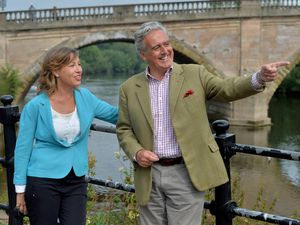 MP Mark Garnier and flooding minister Rebecca Pow in Bewdley, which is to get new flood defences by 2024
