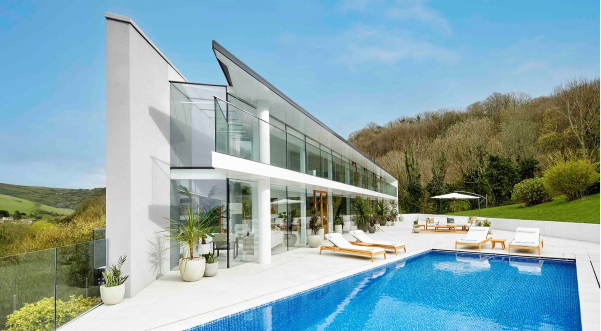 The pool and patio of the £3 million home. Photo: Omaze