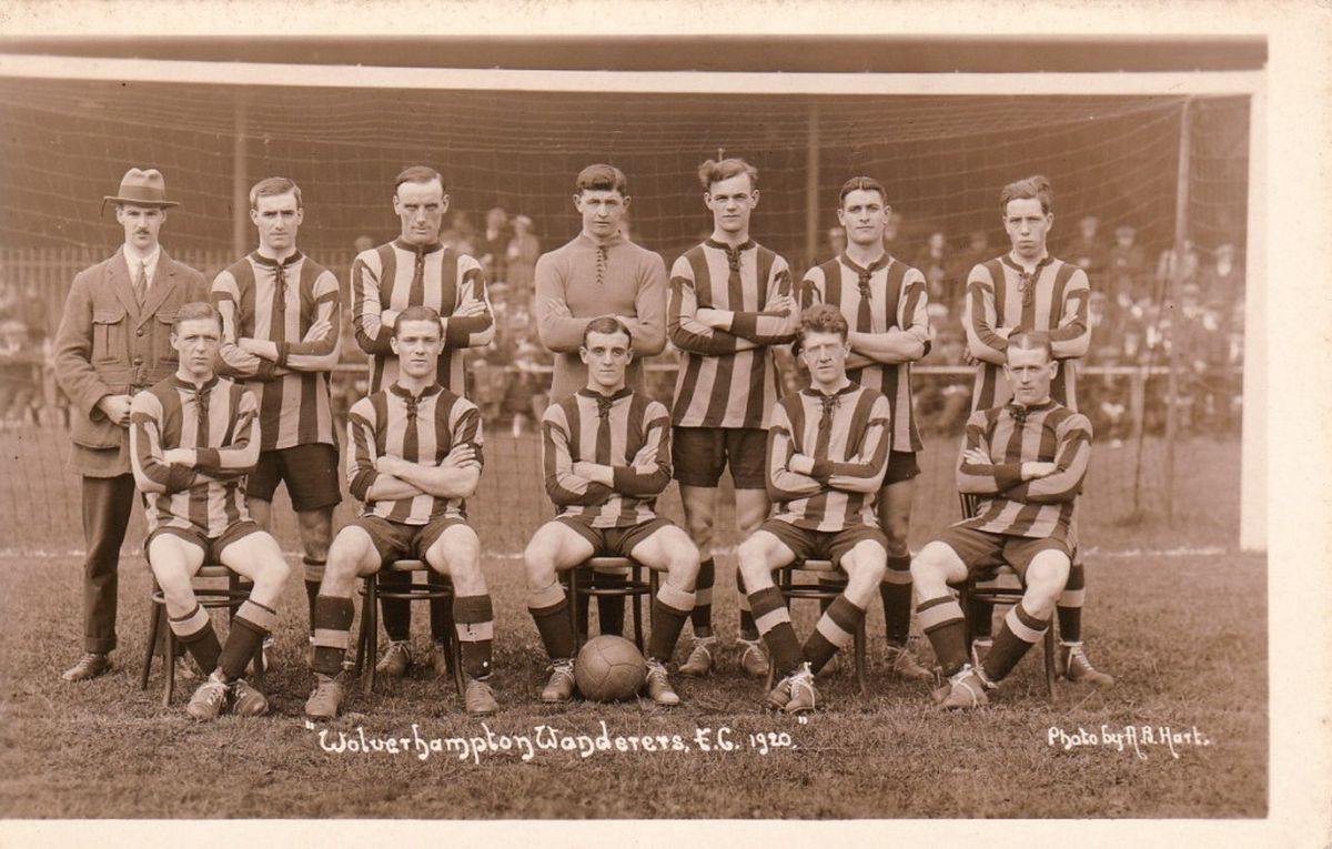 Team photo (Wolves reserves) from 1920 Jack Davies back row far left