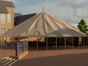 The big top-style outdoor space will be place on the centre's interior courtyard (Image by Newhampton Arts Centre)