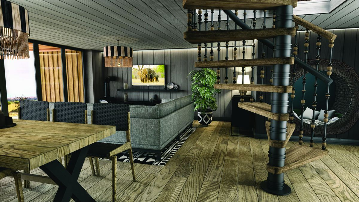 3D concept render of downstairs living space for the new Rhino Lodges