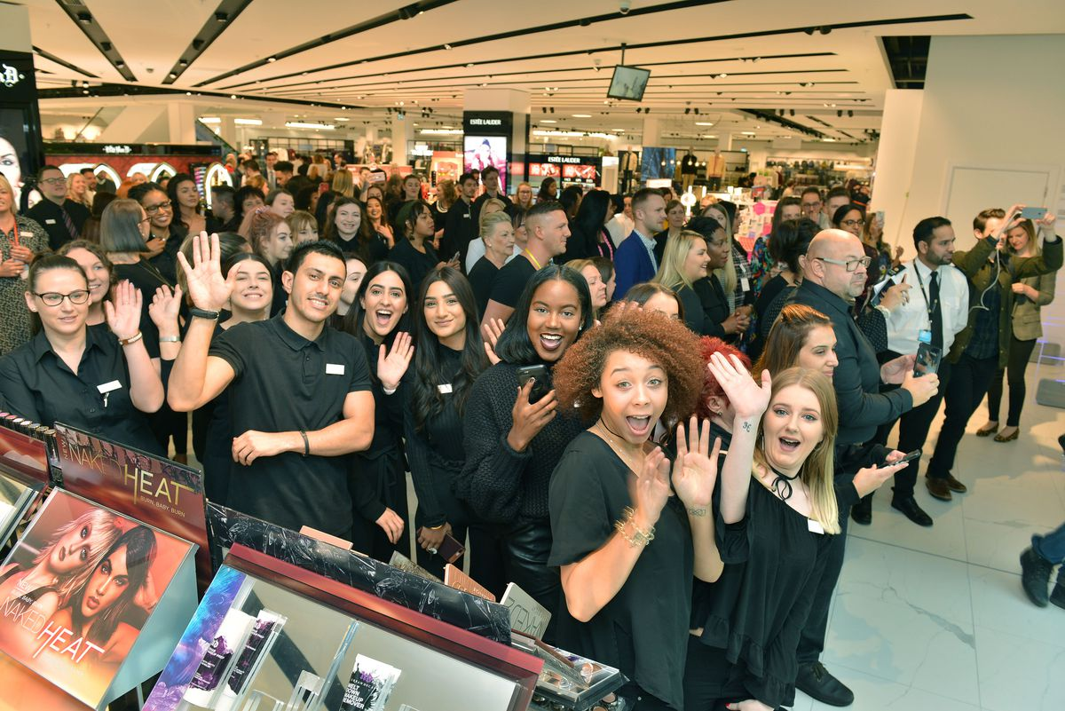 Excited shop staff at the opening of Debenhams in 2017