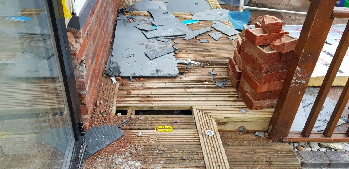 Incomplete and unsupported decking which eventually collapsed. Photo: Wolverhampton Council