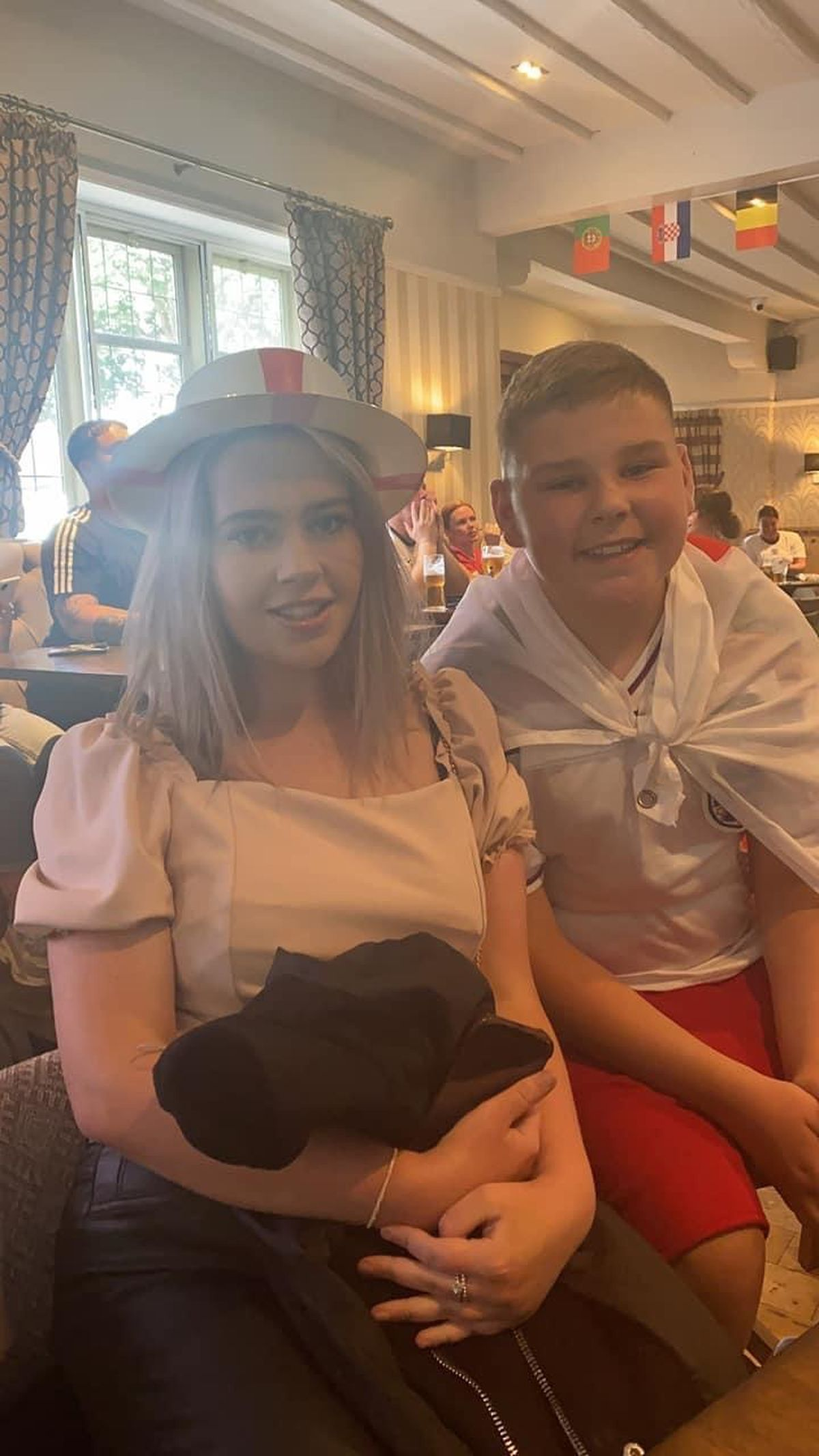 Heather Brown sent this photo of her children Sophie and Jack who were planning to watch the final in the Swan, Lower Street, Tettenhall, Wolverhampton