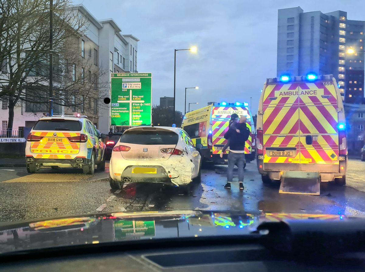 The stolen car was stopped on Bristol Road in Birmingham. Photo: @firearmsWMP