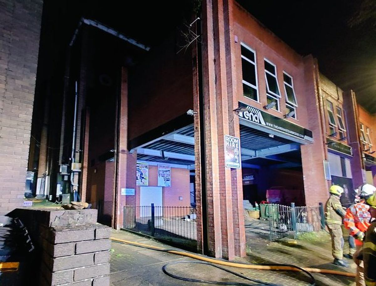 The aftermath of the blaze at the former nightclub. Photo: Stourbridge Fire Station