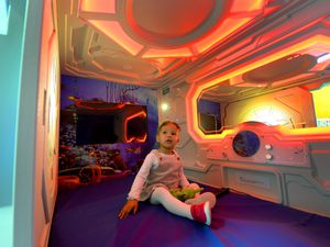 Aryia Raden, aged two, tries out the new sensory pod at Russells Hall Hospital