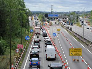 Traffic leaving the M6 at Junction 10 where a new bridge is being put in place