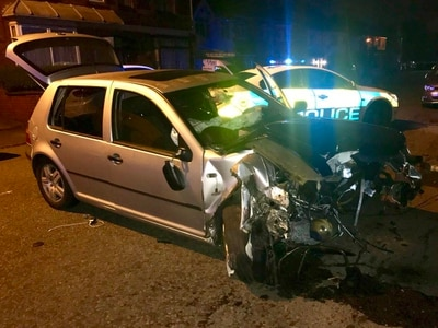 Engine lands 20 metres from car as driver flees Wolverhampton crash