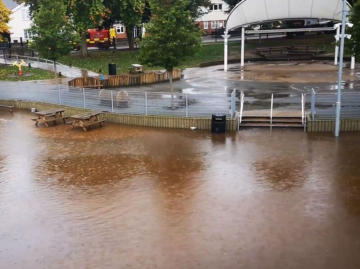 The school's flooded playground on Monday