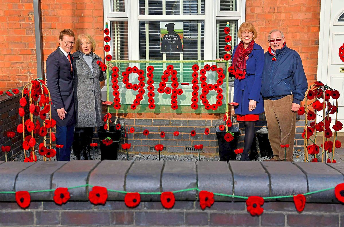 West Mids Mayor Andy Street, Andrea Dalziel, MP Wendy Morton and Cliff Dalziel. The Dalziels decorated this house