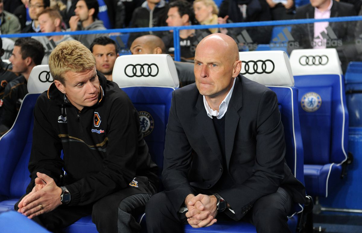 Stale Solbakken the head coach / manager of Wolverhampton Wanderers and Johan Lange the first team coach of Wolverhampton Wanderers (AMA)