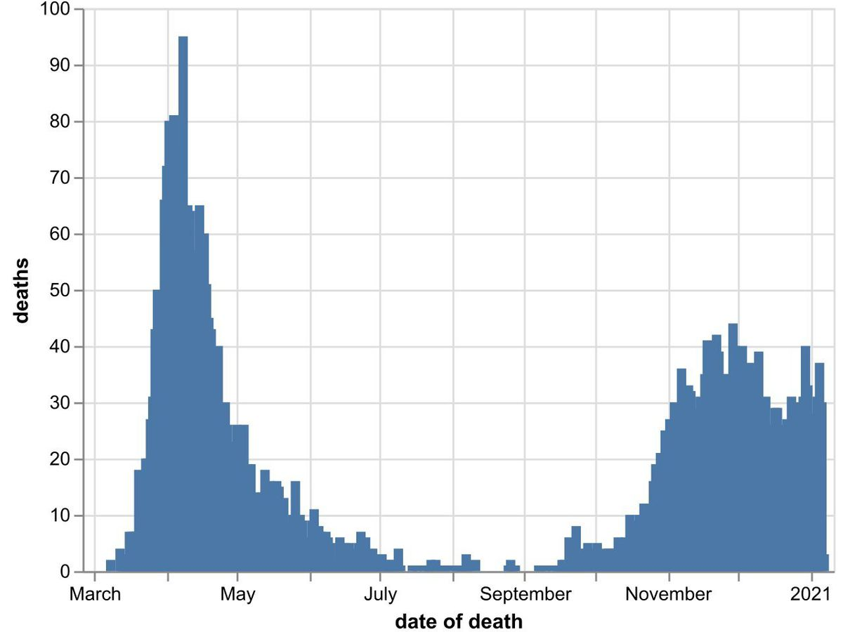 The daily number of coronavirus deaths at Black Country, Birmingham and Staffordshire hospitals as of January 8. By date of death, not date death was announced. Data: NHS England.